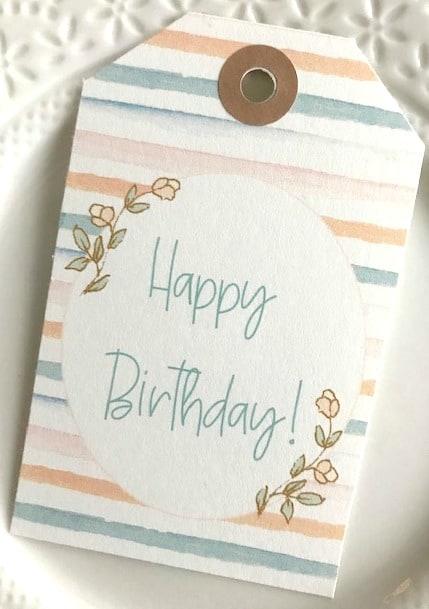 watercolor stripe birthday gift tag m