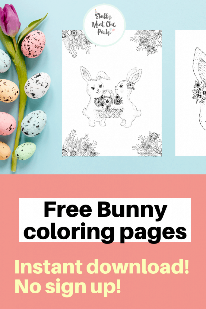 Shabby-Mint-Chic-Party-bunnies coloring pages