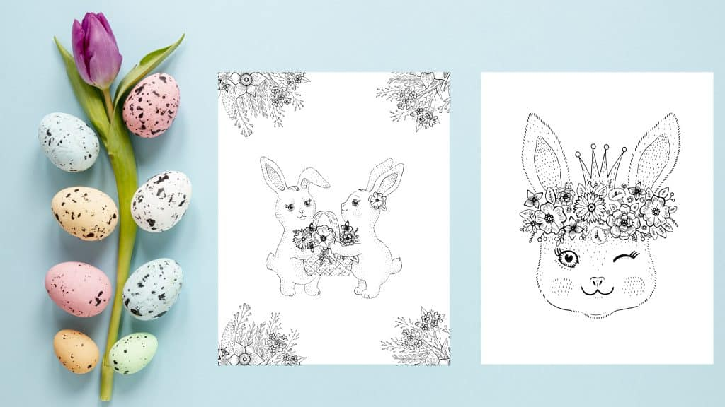 bunnies easter coloring pages floral