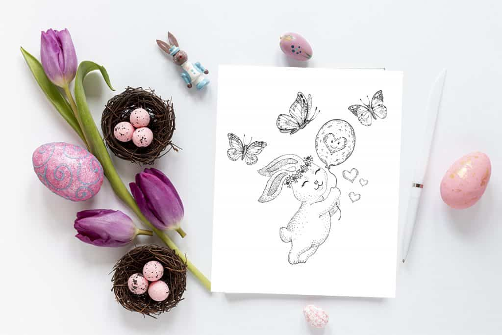 bunny with balloon free easter bunny printable