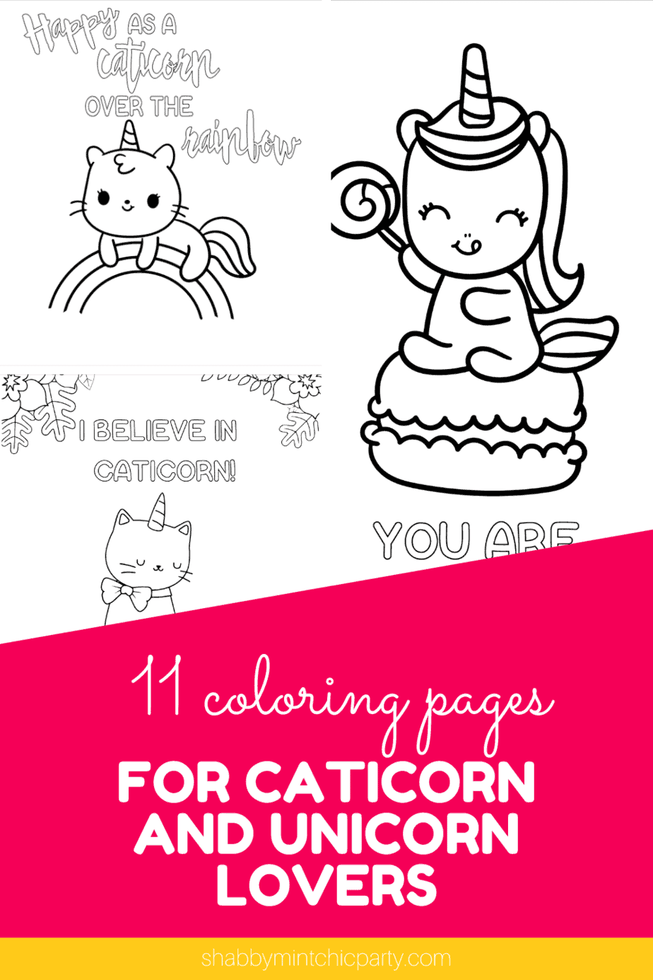 Free Unicorn coloring pages (11 total pages) - Shabby Mint ...