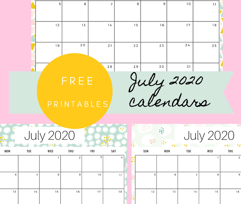July Month Calendar free printable