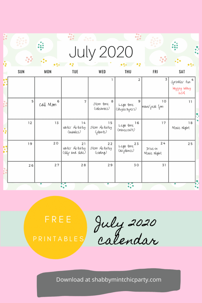 july monthly planner freebie free printable