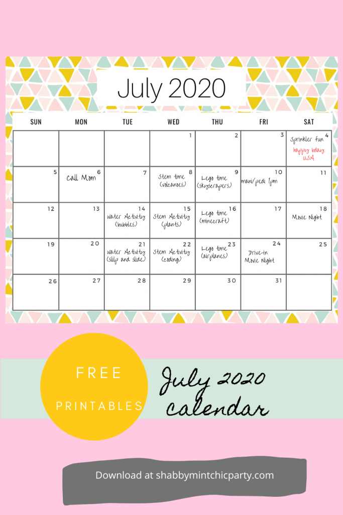 July Monthly Planner free printable