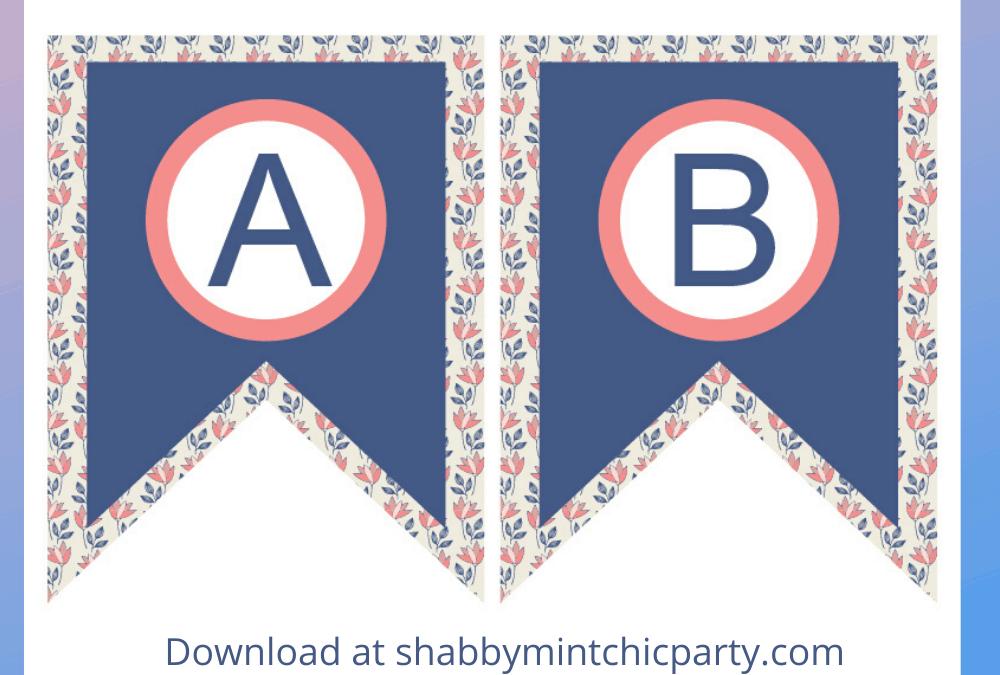 Free Navy Blue Floral Alphabet Banner Printable