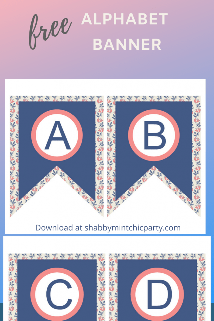 Navy Blue Floral alphabet bunting free printable