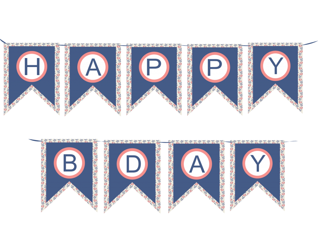 Free party banner printable floral and navy blue colors