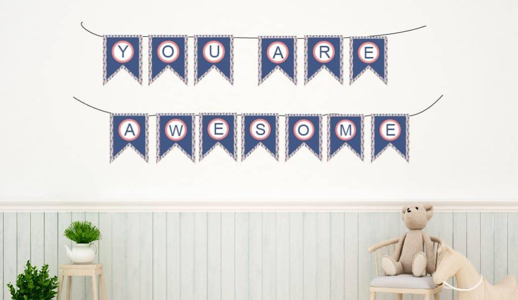 Alphabet banner for nursery, party, bathroom, doors. Freebies