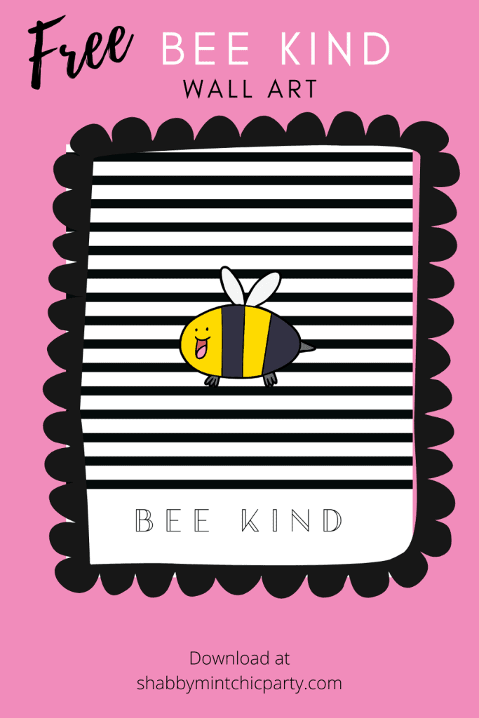 Printable Bee Kind free printable wall art