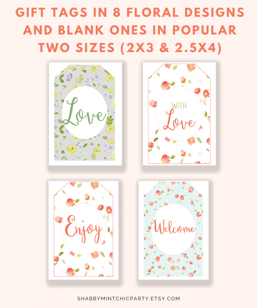 Printable Watercolor floral gift tags
