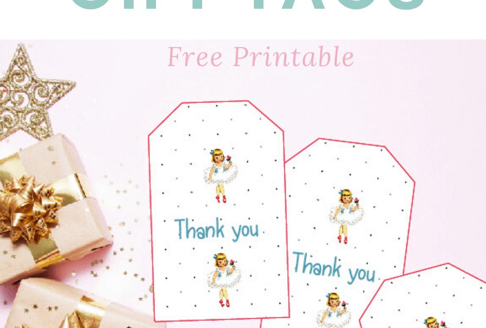 Free Printable Vintage Ballerina Gift tags