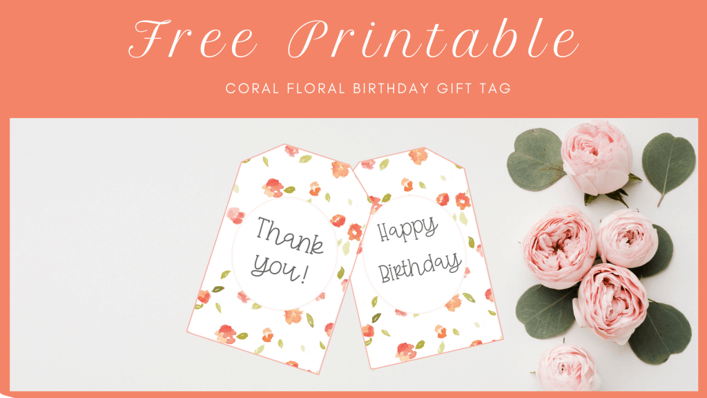 coral floral party gift tag