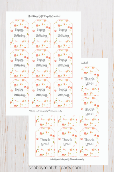 coral gift tags on 8.5x11 page free printable gift tag