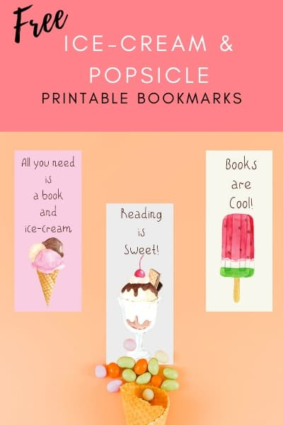 free printable ice-cream and popiscle bookmarks for blog