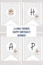 Polka Dots Llama Banner Free Printable