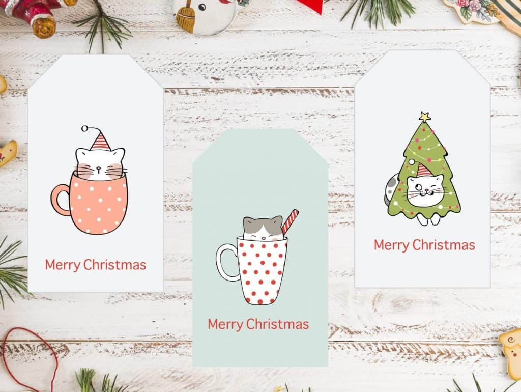 christmas gift tags with cat in mugs