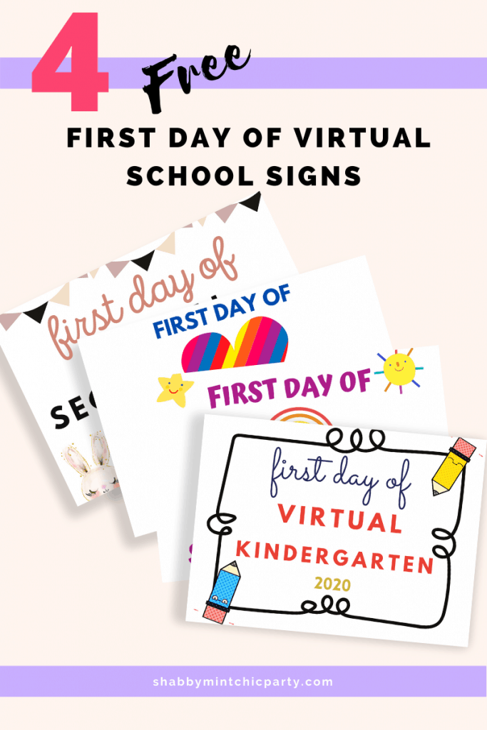 Virtual first day of school signs P