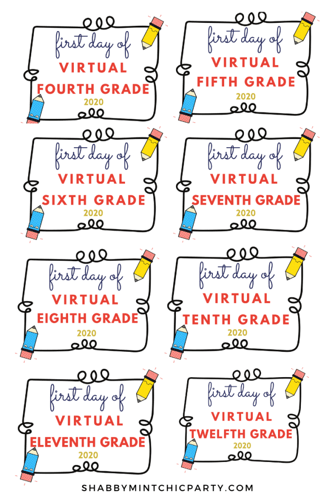 first day of school printable 4th-12th grades