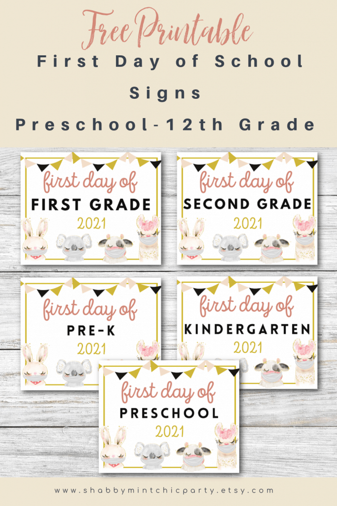 Free First Day of School printable signs animals with masks