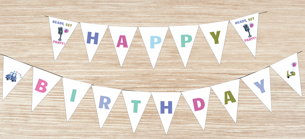 HAPPY BIRTHDAY PARTY PRINTABLE BANNER CAR THEME