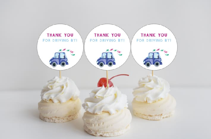 watercolor cars cupcake toppers blue car free printable