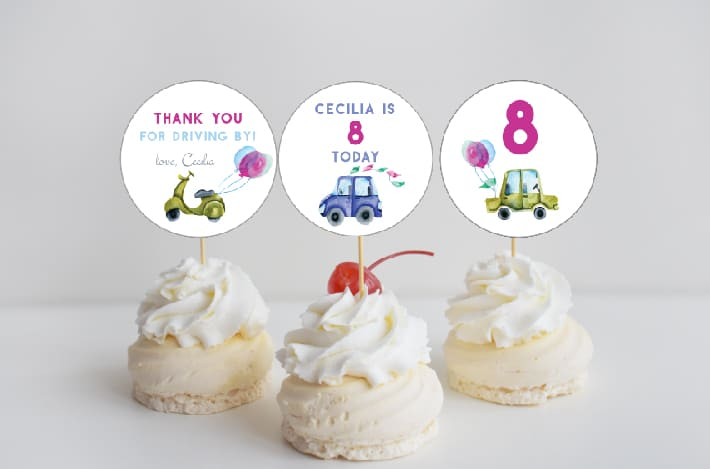 watercolor cars cupcake toppers Corjl editable printable toppers