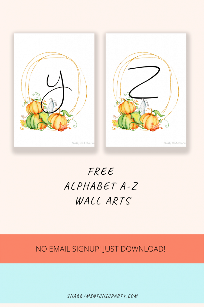pumpkin monogram letters y and z
