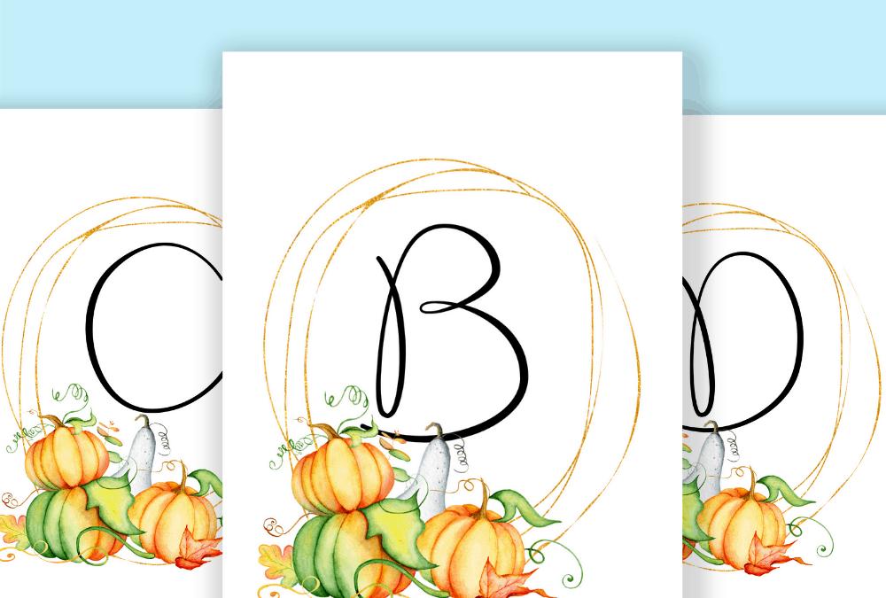 pinterest pin of pumpkins wreath monogram wall art