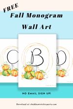 Free Fall Pumpkin Monogram Wall Art Printable