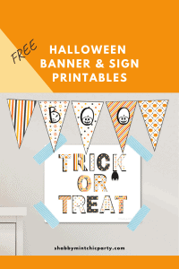 HALLOWEEN BANNER AND SIGN BOO AND TRICK OR TREAT PRINTABLES