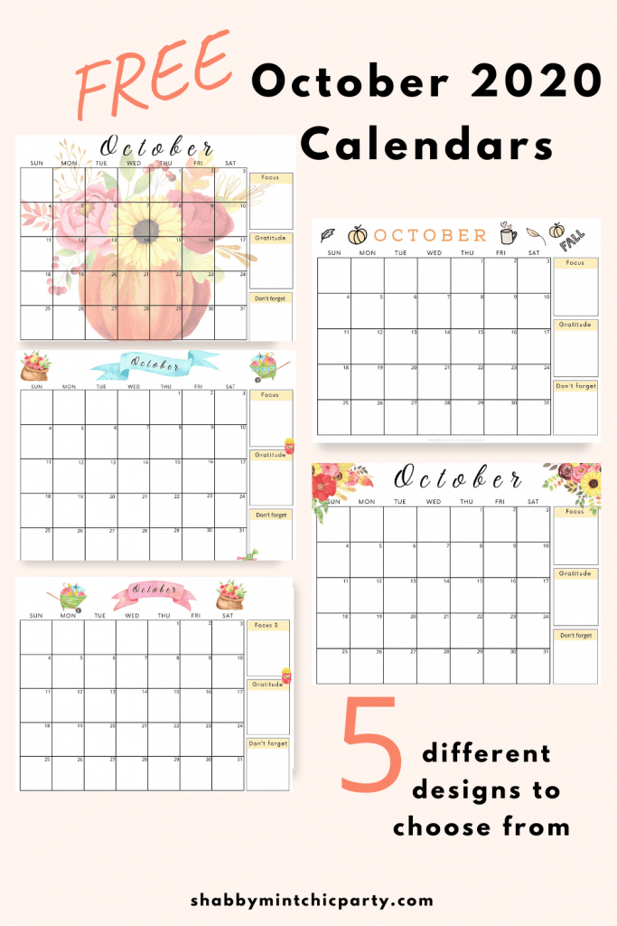 October 2020 printable calendar pumpkin and flowers