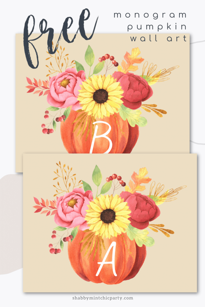 monogram pumpkin letter a and b for Pinterest pin