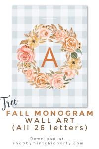 free printable fall flower monogram