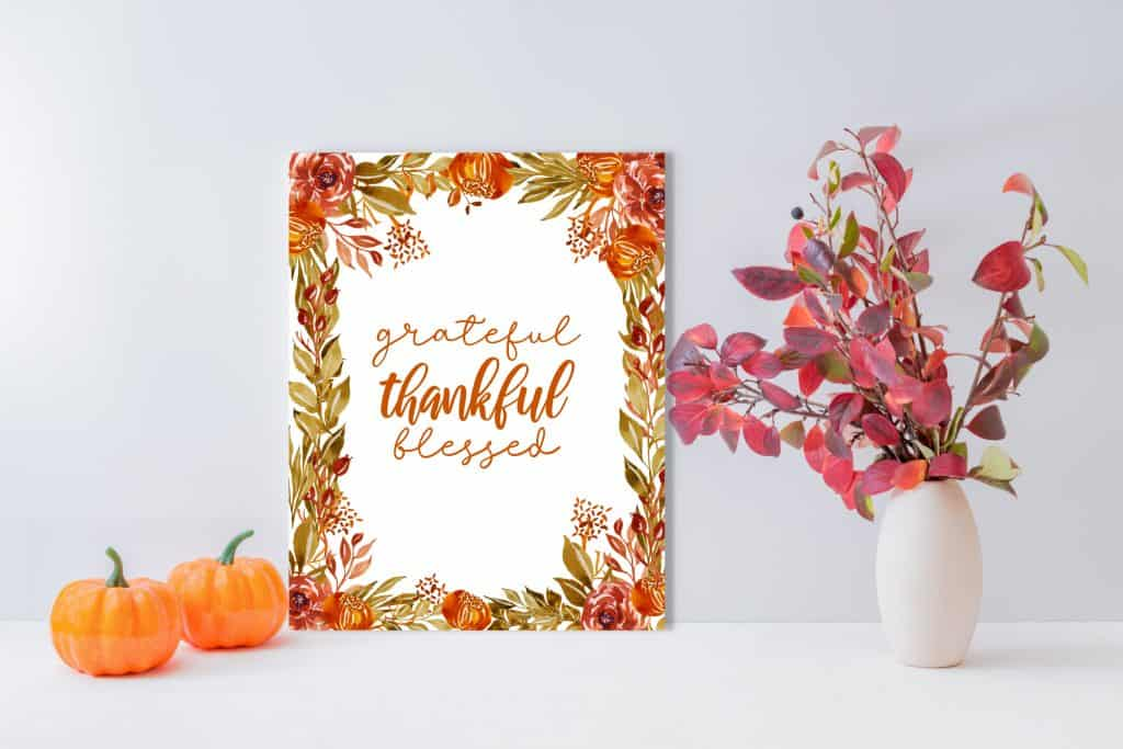 grateful thankful blessed quote in fall floral frame wall art
