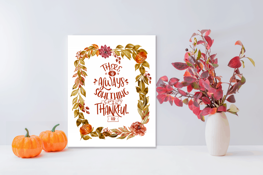 8x10 poster with the quote There is Always Something to be Grateful for with fall floral frame