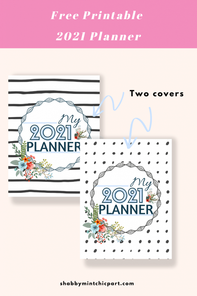 covers for 2021 floral printable planner