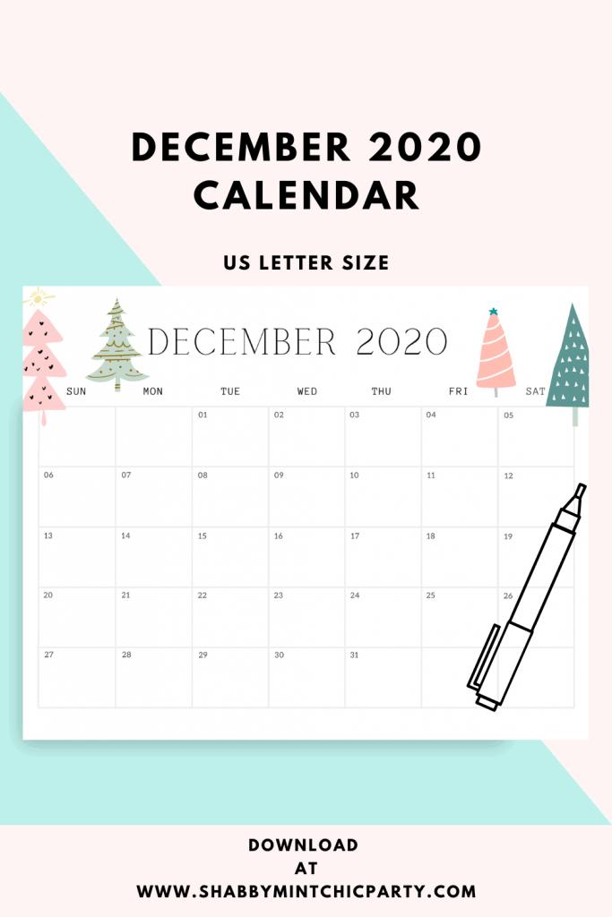 Pin image of printable 2020 december calendar
