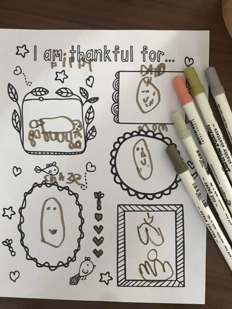 completed gratitude drawing and coloring page thanksgiving activity