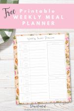 Free Printable Fall Weekly Meal Planner