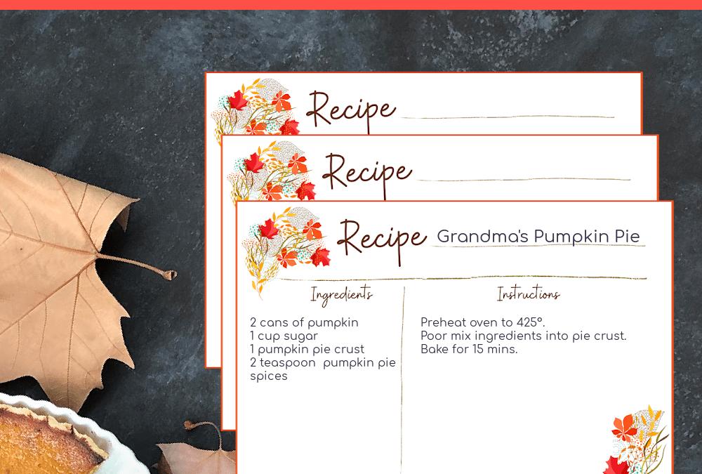 Printable Fall Floral Recipe Card