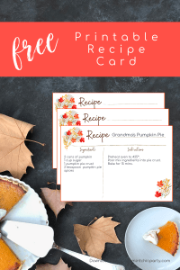 Printable Fall Floral Recipe Card