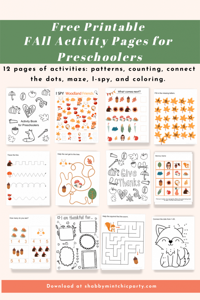preschooler busy book fall theme printable