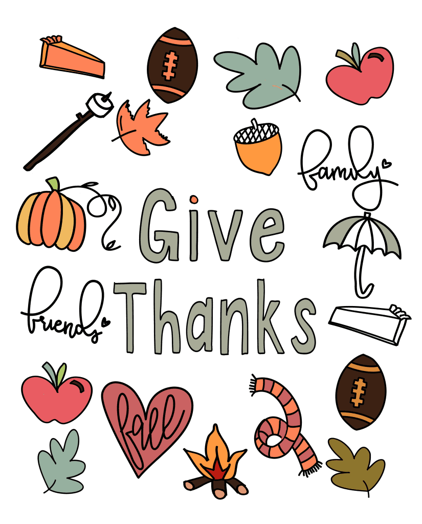 Give Thanks Thanksgiving coloring page done in Procreate