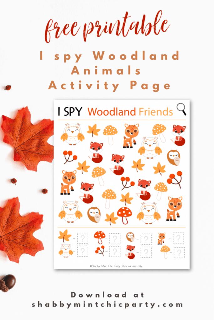 Autumn Woodland Animal I spy activity page