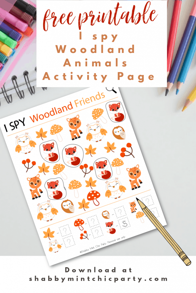 Free printable I SPY forest animals activity page