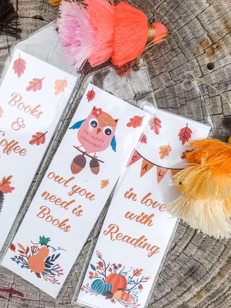 free printable bookmarks fall woodland