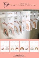 Free Printable Rainbow Baby Closet Dividers
