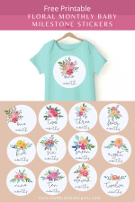 Free Printable Watercolor Flowers Milestone Stickers