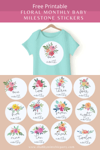 floral monthly baby milestone stickers printable