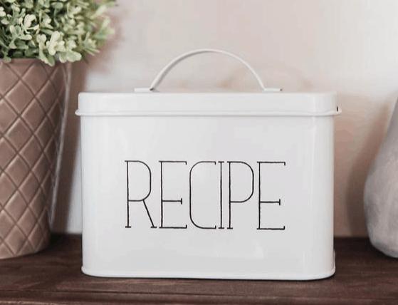 farmhouse recipe card box on Etsy